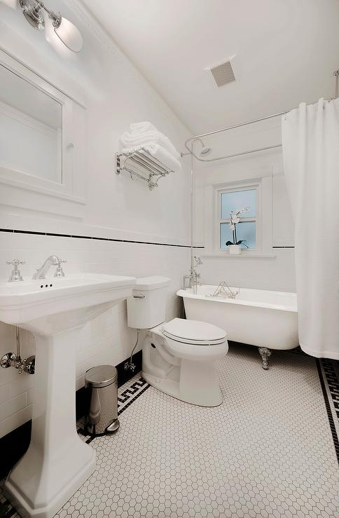 White Hex Bathroom Floor Tiles With Black Greek Key Border Tiles