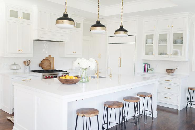 White Kitchen with Crate and Barrel Origin Backless Counter ...