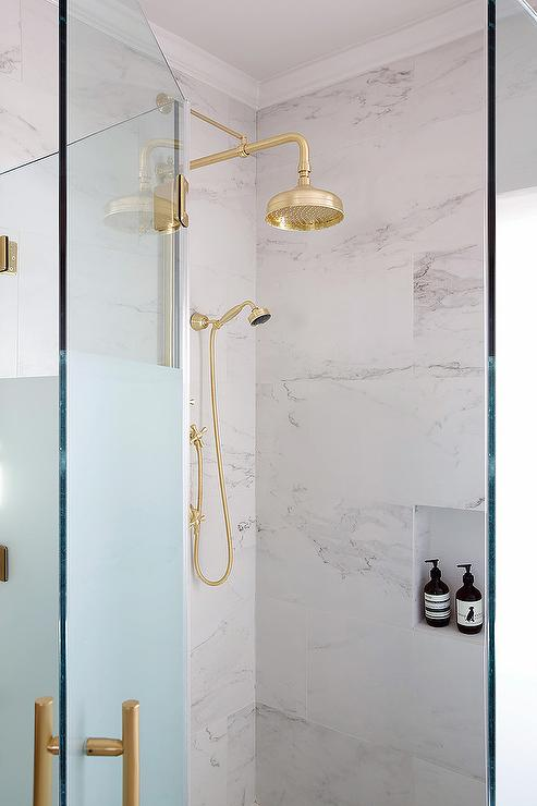 Polished Brass Vintage Exposed Plumbing Shower Head - Transitional ...