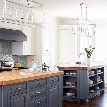 Gray Kitchen Island With Butcher Block : White and Gray KItchen with Light Blue Viking Stove - Transitional - Kitchen