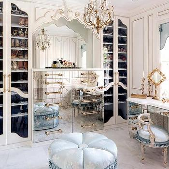 French Walk In Closet With Blue Accents