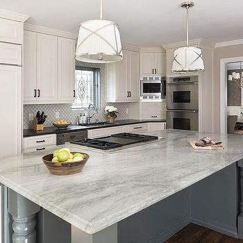 Gray Quartz Perimeter Countertops Design Ideas