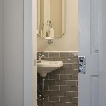 Powder room subway tiles design ideas for Powder room door size