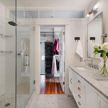 Long and narrow walk through closet design ideas page 1 for Master bathroom designs with walk in closets
