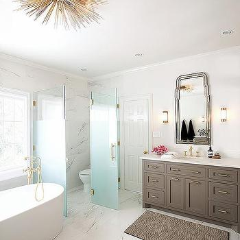 Water Closet With Frosted Glass Door
