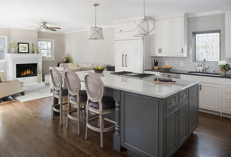 Gray Kitchen Island With Black French Cafe Stools