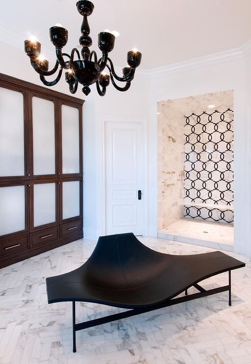 Modern Black Bathroom Lounge with Black Chandelier Modern Bathroom