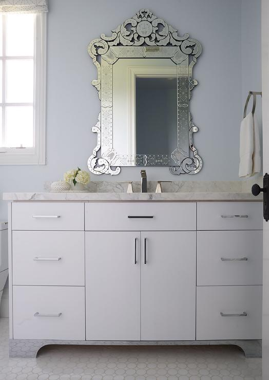 Blue Bathroom With White Mirror: White And Blue Bathroom With Venetian Mirror