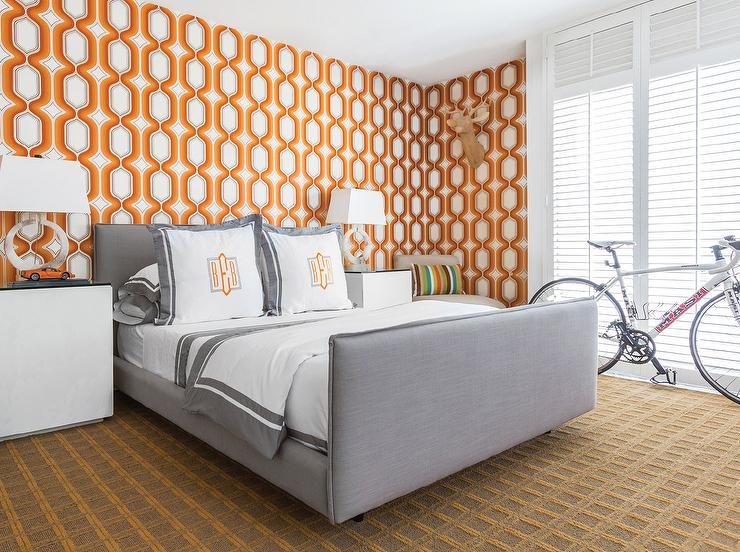Wonderful Contemporary Gray And Orange Bedroom Boasts Walls Clad In Orange Geometric  Wallpaper, Graham U0026 Brown Boheme Wallpaper, Lined With A Steel Gray Bed  Dressed ...
