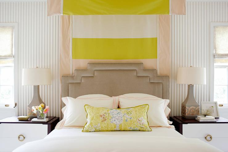 Superior Gray And Yellow Bedroom With Yellow Striped Valance Over Bed
