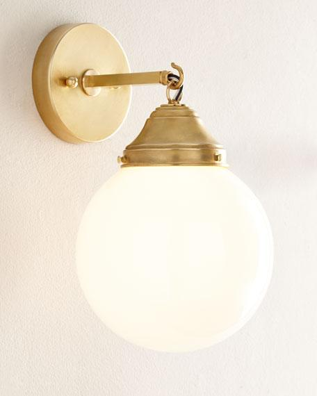 Brass Arm White Globe Sconce