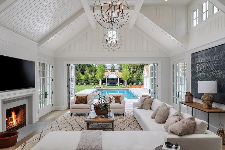 View Full Size Chic Living Room Features A Shiplap Vaulted