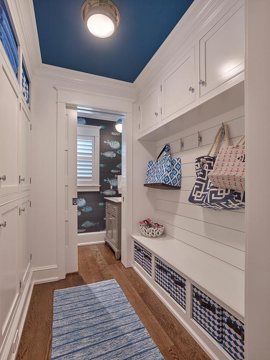 White Galley Style Mudroom With Blue Ceiling Cottage