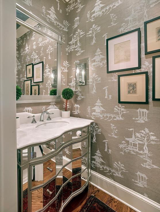 Silver Asian Scenic Wallpaper Transitional Dining Room