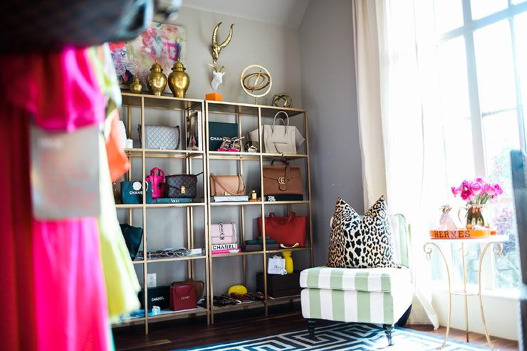 Home Office With Ikea Vittsjo Shelving Unit Displaying Designer Bag  Collection