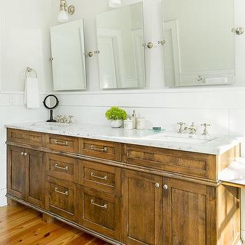 Salvaged Wood Double Washstand With Three Rectangular Pivot Mirrors