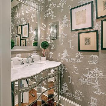 Chinoiserie Powder Room With Mirrored Washstand And Gray French Toile Grasscloth Wallpaper
