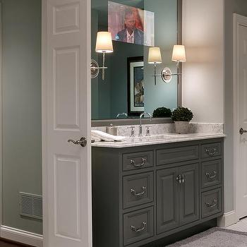 Gray Framed Bathroom Mirror Design Ideas
