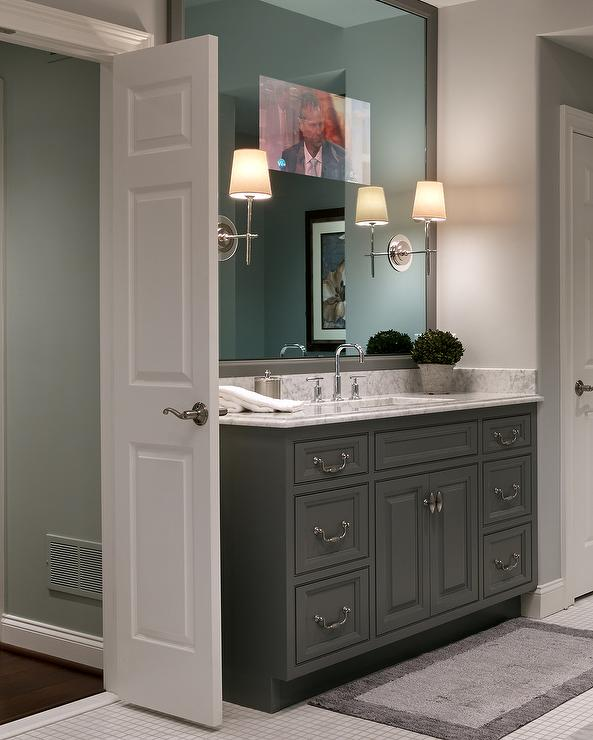 Bathroom Mirror Grey white framed bathroom mirror design ideas