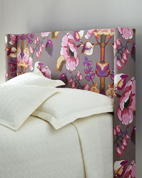 Pink And Gray Floral Wingback Headboard