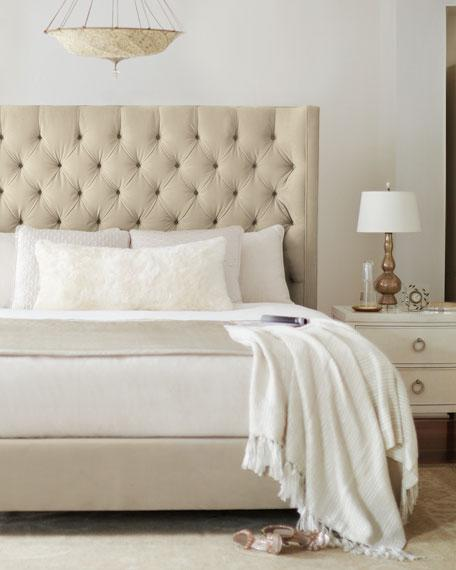 Knightsbridge Beige Linen Rolled Top Tufted Chesterfield