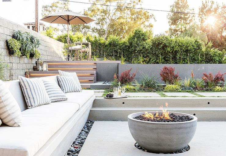 Sunken Concrete Patio With Concrete Bowl Fire Pit