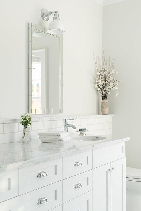 White Bathroom With Marble Backsplash Ledge Transitional