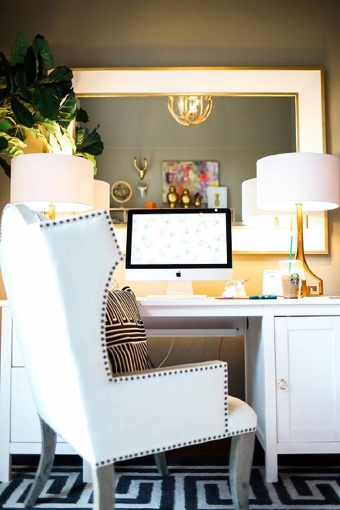 faux bamboo desk with greek key mirror - traditional - den/library