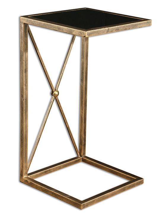 black glass square accent c table