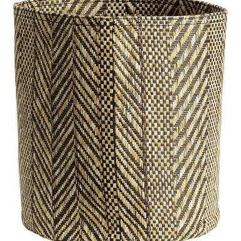 Brown Handles Braid Woven Round Basket