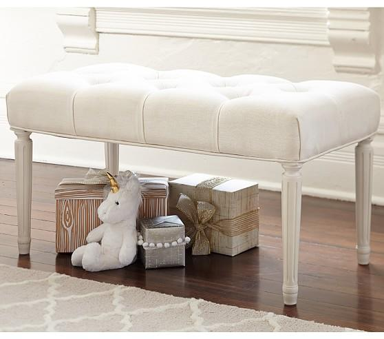 Ivory Tufted Rectangle Cross Base Bench