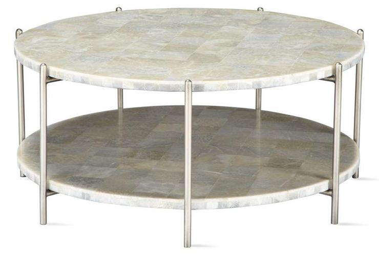 White Round Two Tier Coffee Table - Two level coffee table