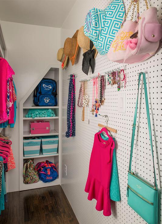 Long Kids Closet With Wall Peg Hooks
