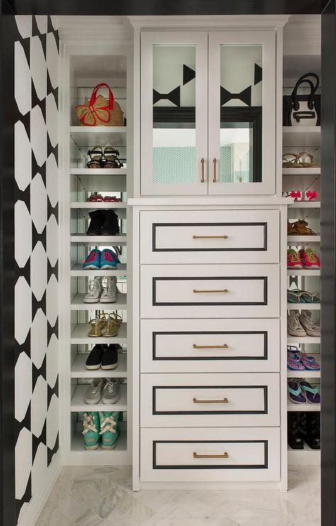 Kids Closet With Mirrors On Back Of Shoe Shelves