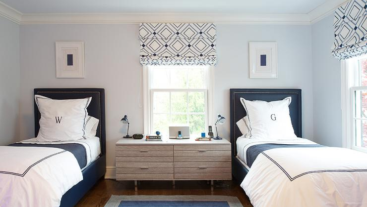 Pale Blue and Navy Blue Boys Bedroom with Monogram Bedding. Pale Blue and Navy Blue Boys Bedroom with Monogram Bedding