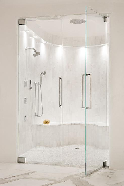 Blue glass subway shower tiles with gray mosaic shower floor contemporary bathroom - Glass shower head ...