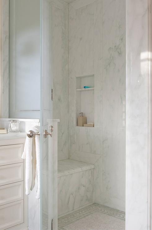 Walk In Shower With Ming Green Marble Shower Floor Accent