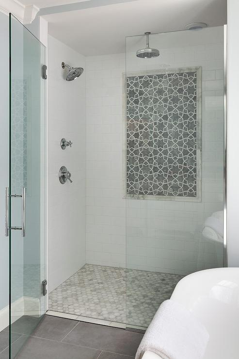 Gray Dolomite Moroccan Shower Tiles Transitional Bathroom