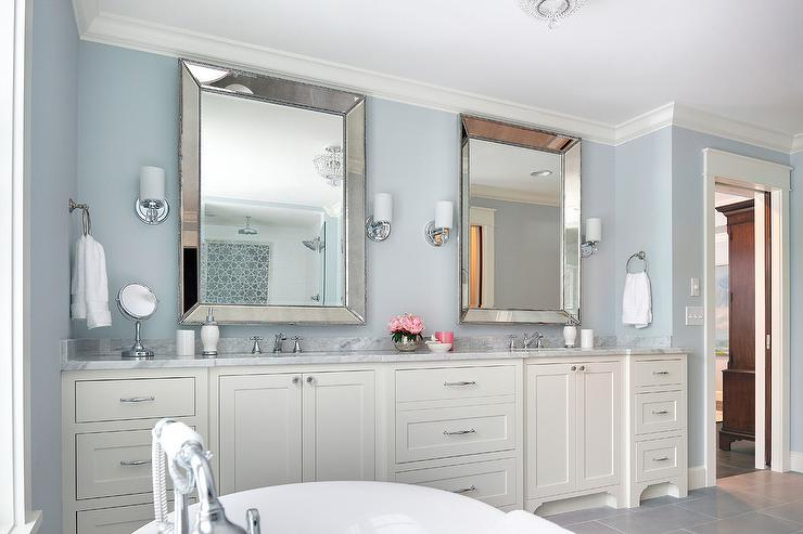 Ivory And Blue Bathroom With Beaded Beveled Mirrors Transitional Bathroom