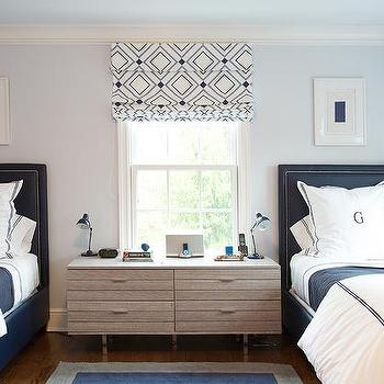 Pale Blue And Navy Boys Bedroom With Monogram Bedding
