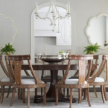 Cream And Brown Dining Room With Bone Inlay Chairs