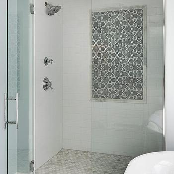 Marble Hexagon Shower Accent Tiles Design Ideas