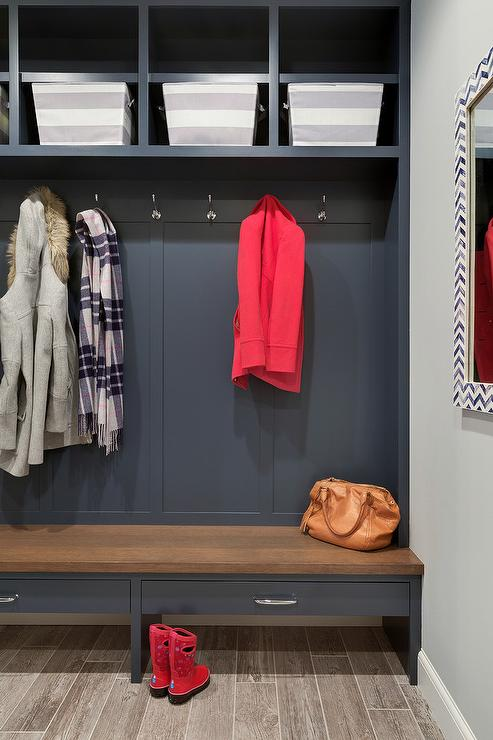 Yellow Mudroom With Blue Accents Transitional Laundry Room