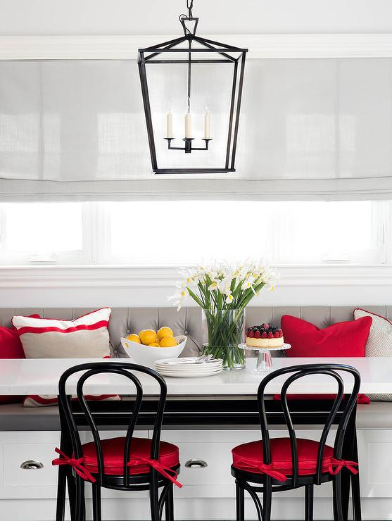 Black Red And Gray Breakfast Room With Black Bentwood Chairs
