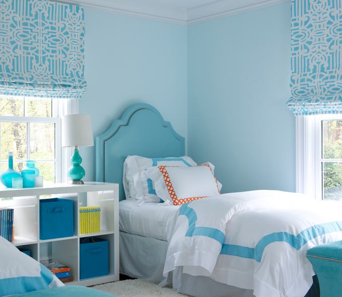 Blue Girls Bedroom with Turquoise Nailhead Headboards and Blue Border  Bedding. Blue Girls Bedroom with Turquoise Nailhead Headboards and Blue