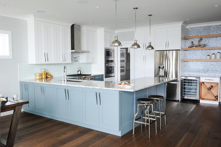 Kitchen Island Or Peninsula blue kitchen island peninsula with backless industrial counter