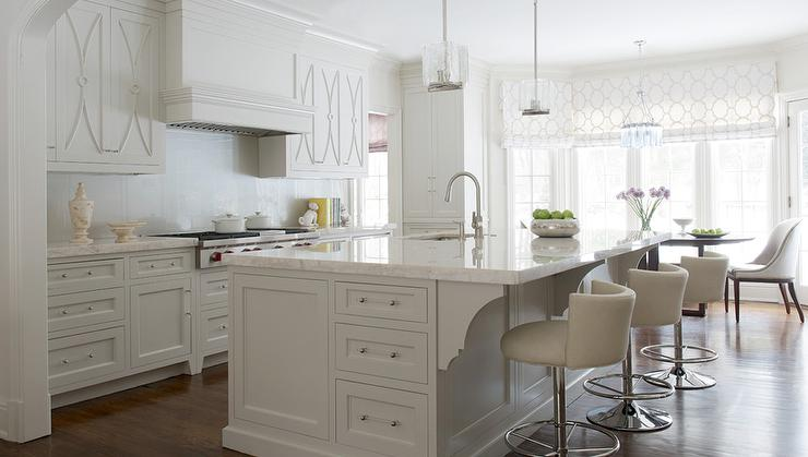 White Kitchen Cabinets With Overlay Panel Trim Transitional Kitchen