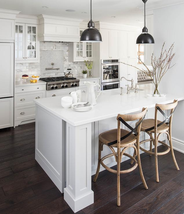 White Kitchen Counter: White Kitchen With Caramel Stained Wood Floors