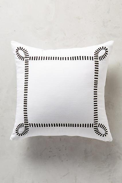 Black Lines Border White Pillow