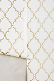 White And Gold Trellis Wallpaper